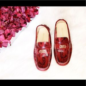 COLE HAAN Shelby Red Snake Print Leather Loafers